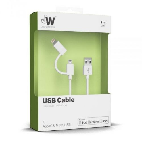 Just Wireless Just Wireless 2in1 Micro USB & Lightning Charge & Sync Cable - кабел за Apple Lightning и устройства с MicroUSB (бял)
