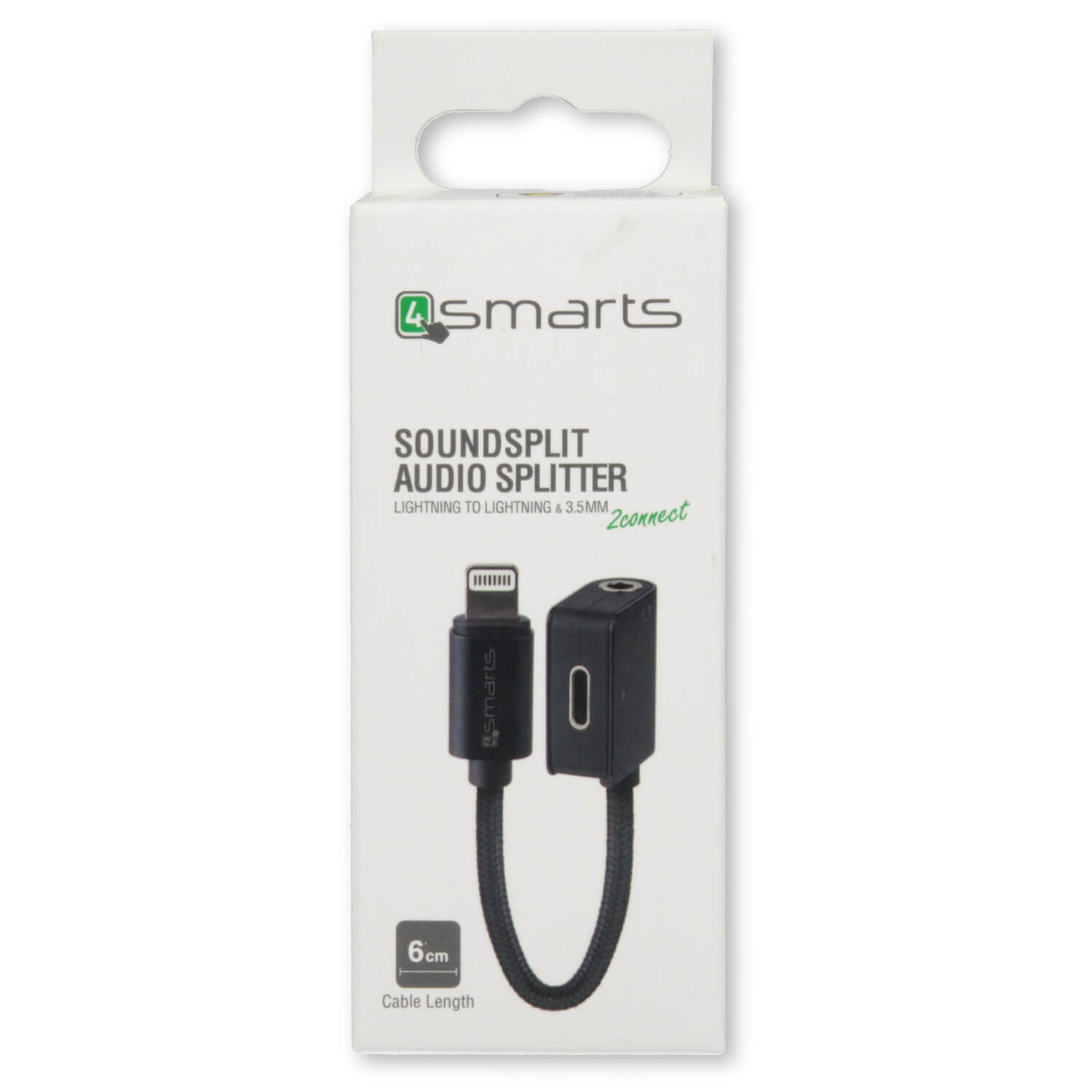 4smarts 4smarts Lightning to Lightning & 3.5mm Audio Splitter SoundSplit - Lightning адаптер към 3.5 аудио изход и Lightning изход (6см) (черен)
