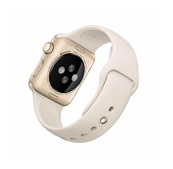 Apple Apple Sport Band S/M & M/L 316L Gold Stainless Steel Pin - оригинална силиконова каишка за Apple Watch 38мм, 40мм (бял) (reconditioned) (Apple Box)