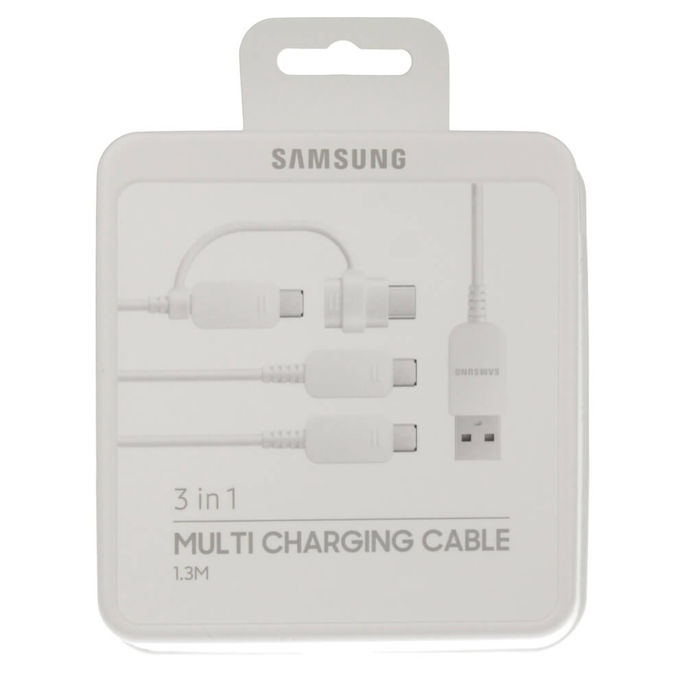 Samsung Samsung 3-in-1 Multi Charging Cable EP-MN930 - универсален кабел с MicroUSB и USB-C конектори (бял)