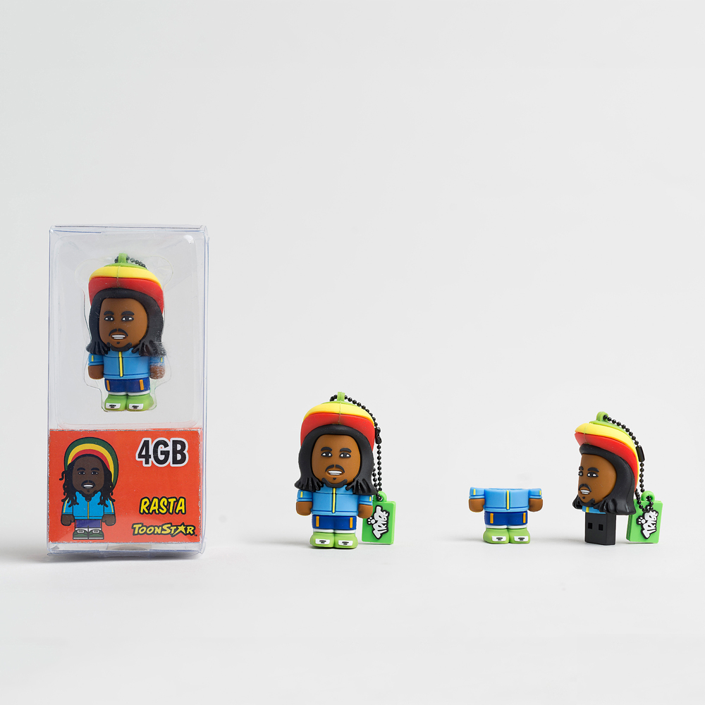 USB Tribe USB Tribe Toonstar Rasta High Speed USB 2.0 Flash Drive 4GB - флаш памет 4GB